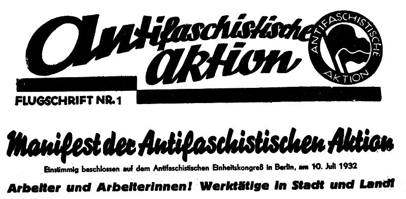 Chamado feito nas páginas do Rote Fahne para a formação da Ação Antifascista. A data é de 10 de julho de 1932.
